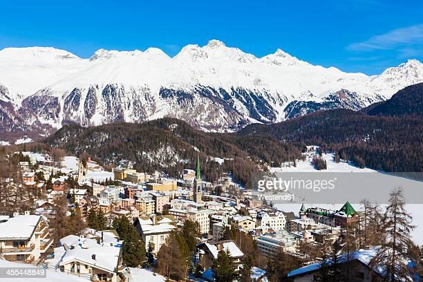 Switzerland, View of St Moritz townscape