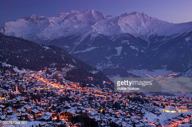 switzerland, wallis, verbier, view of town, evening - valais canton stock pictures, royalty-free photos & images