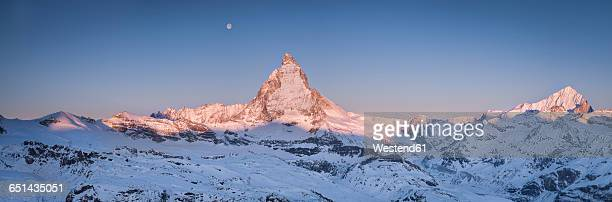 Switzerland, Zermatt, Pennine Alps, view to Matterhorn at sunrise, panorama
