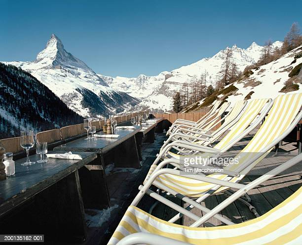 Switzerland, Zermatt, row of chairs on veranda over looking Matterhorn