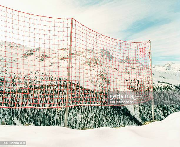 Switzerland, Zermatt, ski safety net by Alps mountain range
