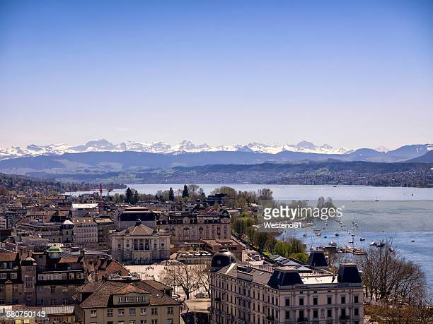 Switzerland, Zurich, Cityscape, Lake Zurich, Alps in the background