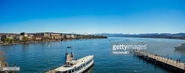 Switzerland, Zurich, Cityscape, Lake Zurich, Alps in the background, Panorama