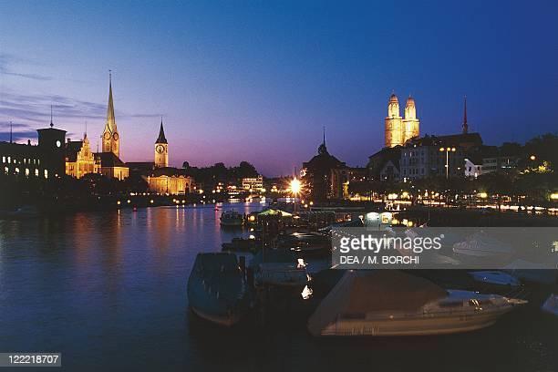 Switzerland Zurich from the Quaibrucke Bridge Night view