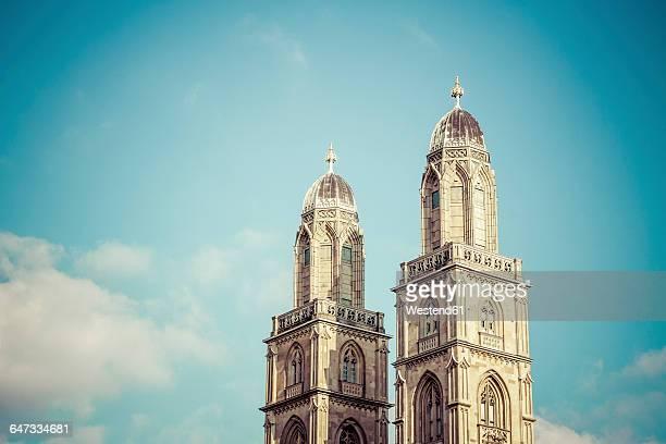 switzerland, zurich, great minster, church spires - zurich stock pictures, royalty-free photos & images