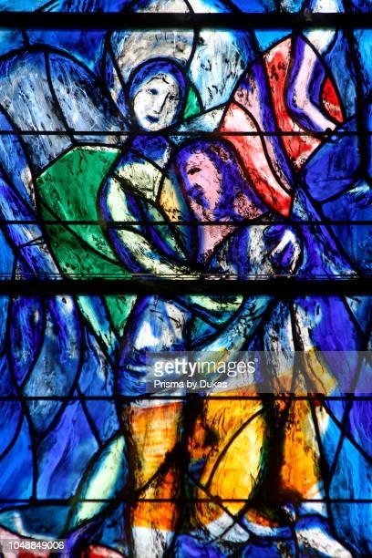 Switzerland, Zurich, Grossmunster, Jacobswindow by Marc Chagall.