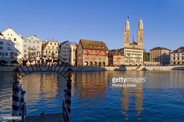 Switzerland Zurich Grossmunster river Limmat