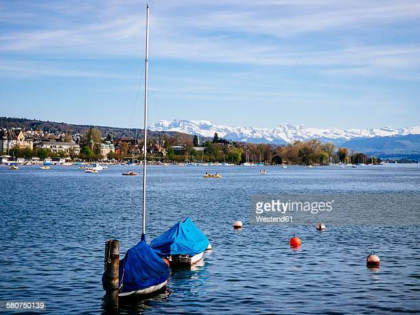 Switzerland, Zurich, Lake Zurich, Alps in the background