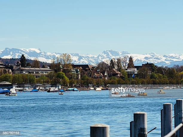 Switzerland, Zurich, Lake Zurich, Alps in the background