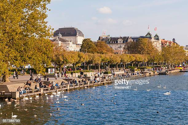 Switzerland, Zurich, Lake Zurich, Uto Quai, waterfront promenade