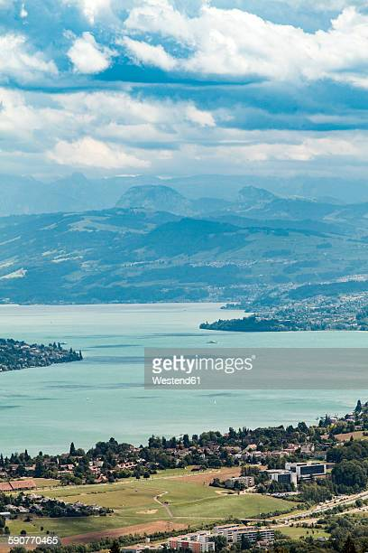 Switzerland, Zurich, Landscape view from Uetliberg with Lake Zurich and mountains