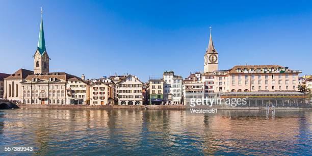 Switzerland, Zurich, River Limmat, Fraumuenster Church and St. Peter Church, Panorama