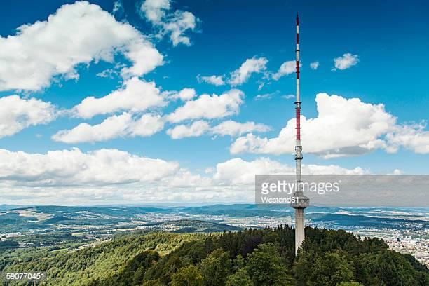 switzerland, zurich, scenic view from uetliberg with communication tower and mountain range - antenne stock-fotos und bilder
