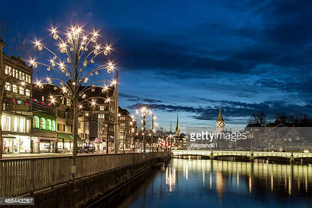 Switzerland, Zurich, View of Christmas celebration at River Limmat