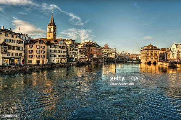Switzerland, Zurich, View of river and old town