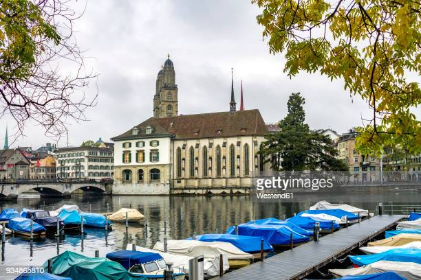 Switzerland, Zurich, view to mooring area at Limmat River