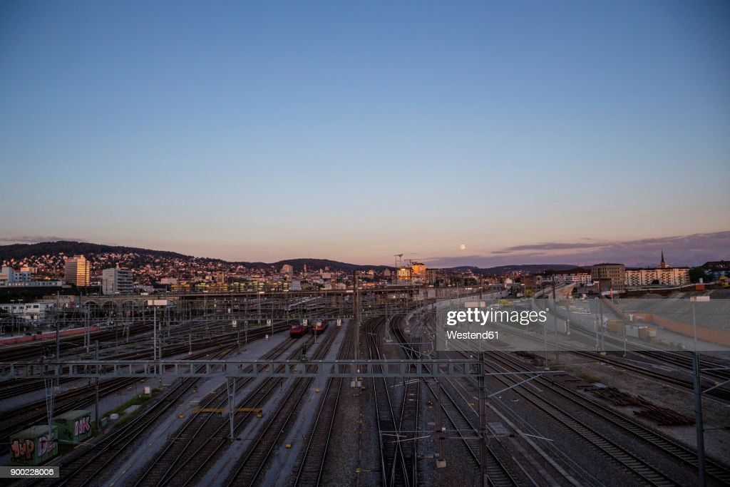 Railway Station Train Movement From Above The Rails Stock