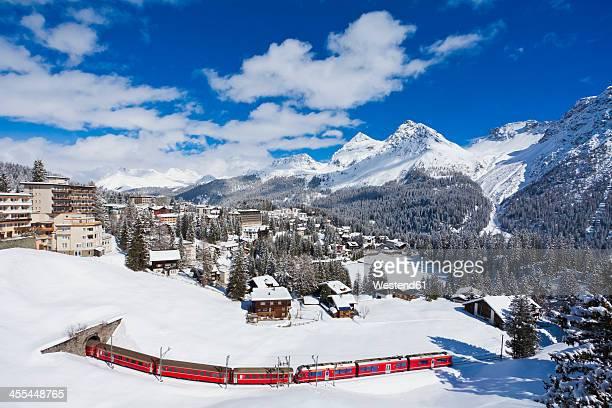Switzerland,Arosa, Rhaetian railway passing through snow