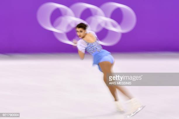 Switzerland's Alexia Paganini competes in the women's single skating short program of the figure skating event during the Pyeongchang 2018 Winter...