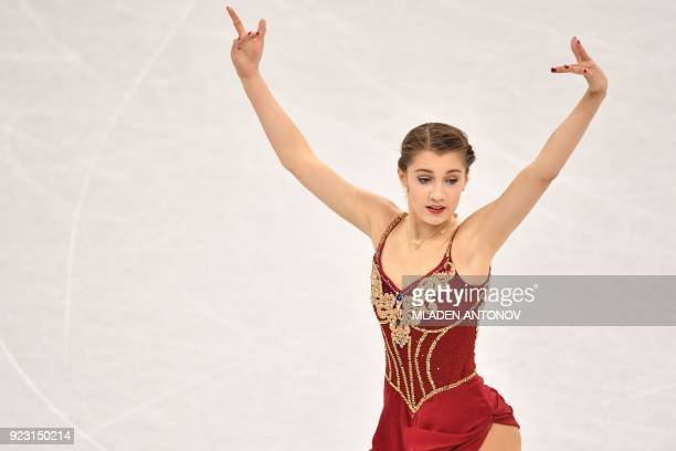 Switzerland's Alexia Paganini competes in the women's single skating free skating of the figure skating event during the Pyeongchang 2018 Winter...