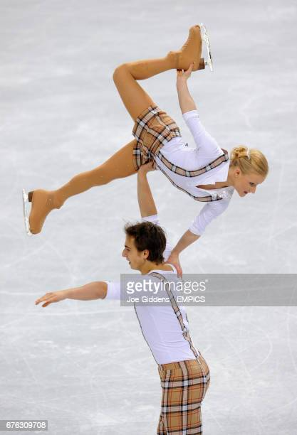 Switzerland's Anais Morand and Antoine Dorsaz in the Pairs Free Ice Skating at the Pacific Coliseum Vancouver