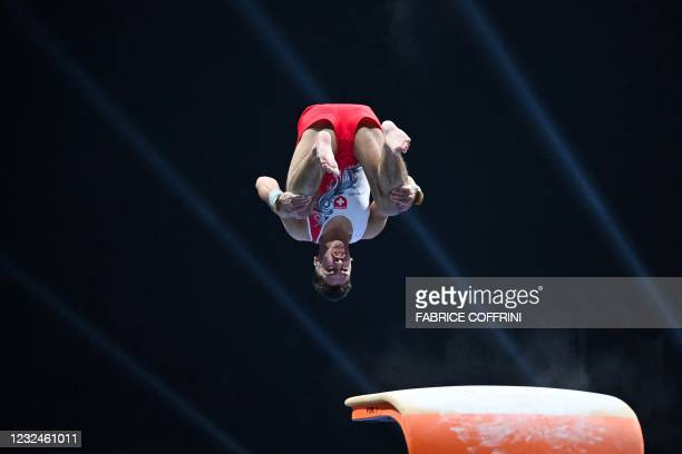 Switzerland's Andrin Frey competes in the Men's vault qualifications during European Artistic Gymnastics Championships at the St Jakobshalle, in...