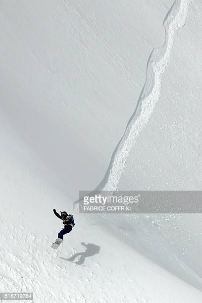 TOPSHOT Switzerland's AnneFlore Marxer competes in the women's snowboard event at the Bec des Rosses during the Verbier Xtreme Freeride World Tour...