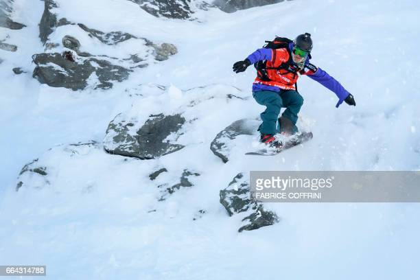 Switzerland's AnneFlore Marxer competes in the Women's snowboard event during the Verbier Xtreme Freeride World Tour finals at the Bec des Rosses...