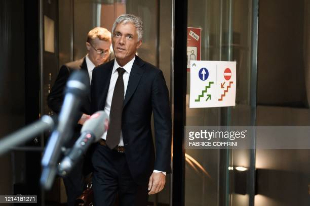 Switzerland's attorney general Michael Lauber arrives on May 20 2020 for his hearing before a parliamentary committee at the Swiss House of...
