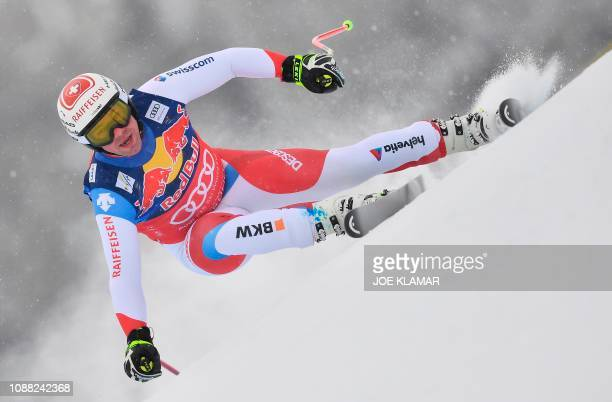 Switzerlands Beat Feuz competes in the men's downhill event of the FIS Alpine Ski World Cup in Kitzbuehel Austria on January 25 2019