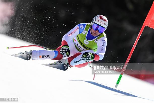 Switzerland's Beat Feuz competes in the Men's Super G race during the FIS Alpine ski world cup championship on March 14 in Grandvalira Soldeu - El...