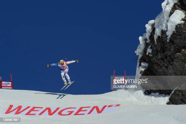 Switzerland's Beat Feuz competes on the way to victory during the FIS World Cup Men's Downhill on January 14 in Wengen AFP PHOTO / OLIVIER MORIN