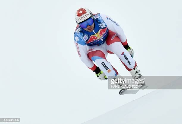 Switzerland's Beat Feuz performs during a training session of the FIS Alpine World Cup Men's downhill event in Kitzbuehel Austria on January 18 2018...