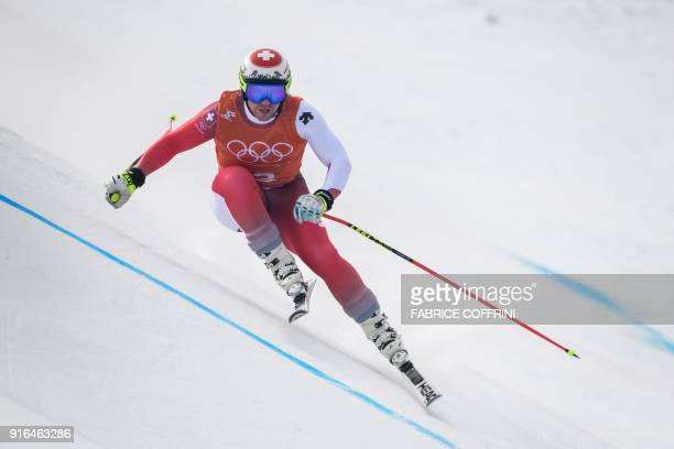 Switzerland's Beat Feuz takes part in the Men's Downhill 3rd training at the Jeongseon Alpine Center during the Pyeongchang 2018 Winter Olympic Games...
