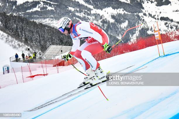Switzerland's Beat Feuz takes part in the training run for the men's downhill race of the FIS Alpine Skiing World Cup in Lauberhorn in Wengen on...