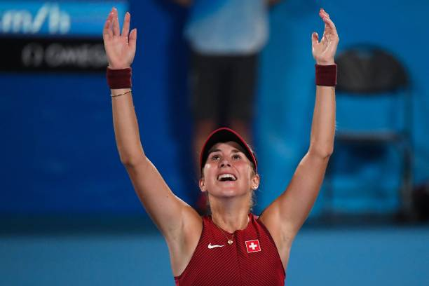 Switzerland's Belinda Bencic celebrates after defeating Czech Republic's Marketa Vondrousova during their Tokyo 2020 Olympic Games women's singles...