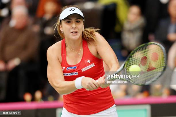 Switzerland's Belinda Bencic in action against Germany's Angelique Kerber at the the Fed Cup tennis quarterfinal between Germany and Switzerland in...