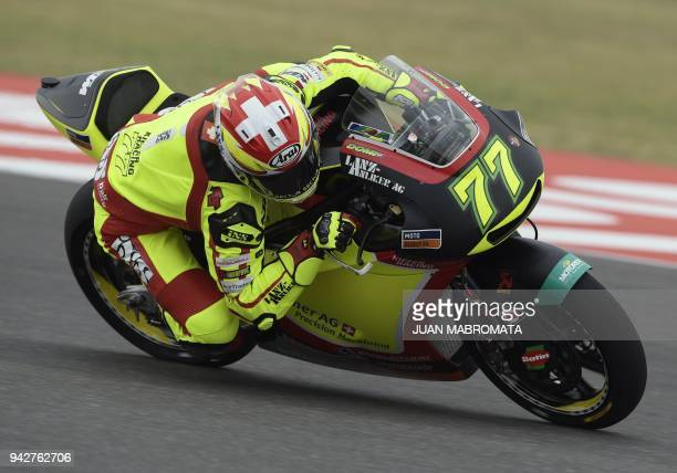 Switzerland's biker Dominique Aegerter rides his KTM during a Moto2 free practice of the Argentina Grand Prix at Termas de Rio Hondo circuit in...
