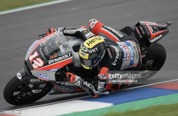 Switzerland's biker Thomas Luthi rides his Kalex during a free practice before the Moto 2 qualifying session of the Argentina Grand Prix at Termas de...