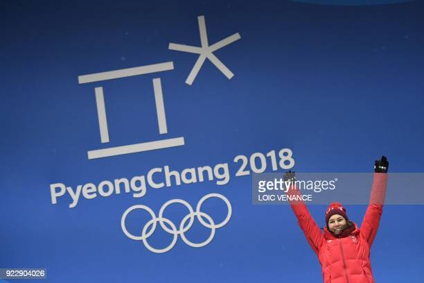 Switzerland's bronze medallist Wendy Holdener poses on the podium during the medal ceremony for the alpine skiing women's combined at the Pyeongchang...