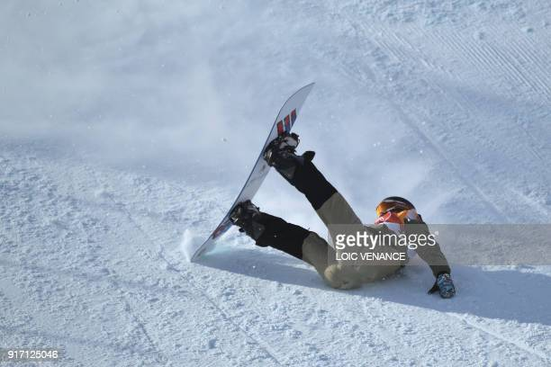 TOPSHOT Switzerland's Carla Somaini falls in a run of the women's snowboard slopestyle final event at the Phoenix Park during the Pyeongchang 2018...