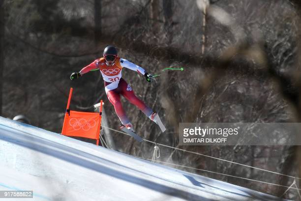 Switzerland's Carlo Janka competes in the Men's Alpine Combined Downhill at the Jeongseon Alpine Center during the Pyeongchang 2018 Winter Olympic...