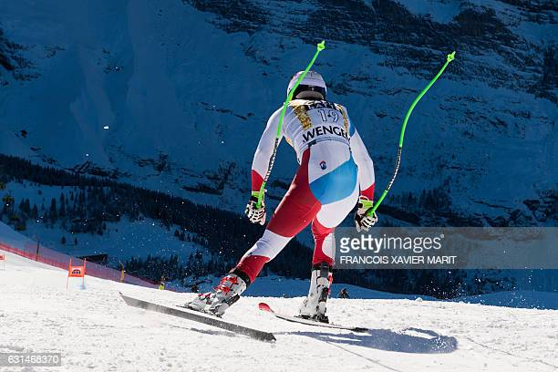 Switzerland's Carlo Janka takes the start of the training session for the men's downhill race of the FIS Alpine Skiing World Cup at the Lauberhorn in...