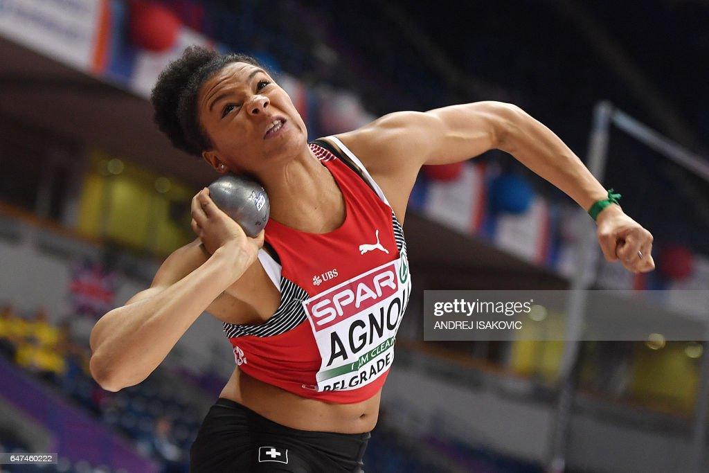 Switzerland's Caroline Agnou competes in the women's pentathlon shot put at the 2017 European Athletics Indoor Championships in Belgrade on March 3, 2017. / AFP PHOTO / Andrej ISAKOVIC