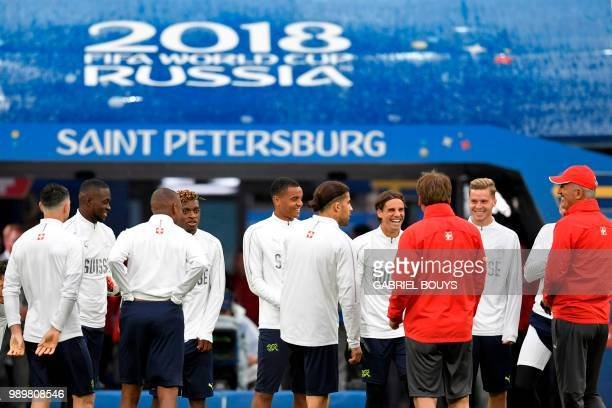 Switzerland's coach Vladimir Petkovic gives instructions to his players during a training session at the Saint Petersburg Stadium in Saint Petersburg...