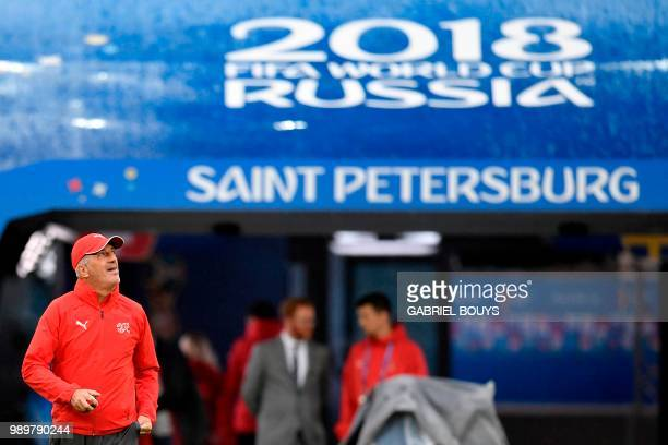 Switzerland's coach Vladimir Petkovic looks on during a training session at the Saint Petersburg Stadium in Saint Petersburg on July 2 2018 on the...