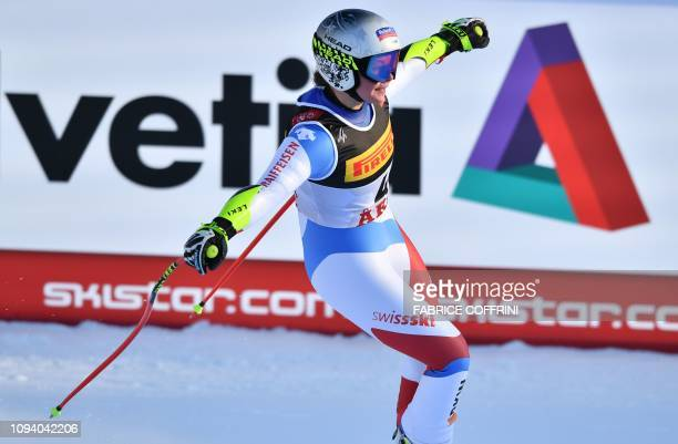 Switzerland's Corinne Suter reacts as she arrives in the finish area during women's Super G event of the 2019 FIS Alpine Ski World Championships at...