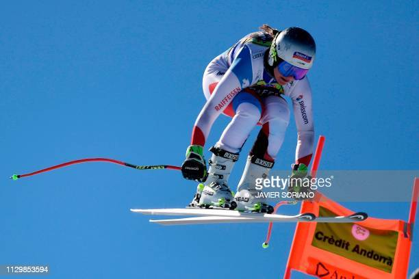 Switzerland's Corinne Suter takes part in the training run for the women's downhill race of the FIS Alpine Ski World Cup Finals at SoldeuEl Tarter in...