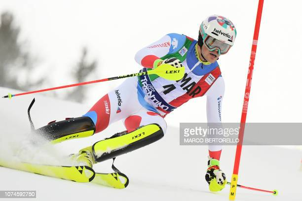 Switzerland's Daniel Yule competes in the first run of the FIS Alpine World Cup Men's Slalom on December 22 2018 in Madonna di Campiglio Italian Alps