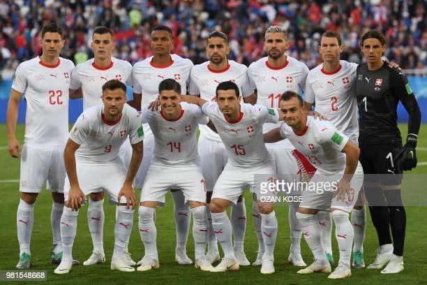Switzerland's defender Fabian Schaer midfielder Granit Xhaka defender Manuel Akanji defender Ricardo Rodriguez midfielder Valon Behrami defender...